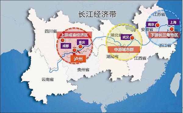 数据来源:《中国统计年鉴2015》   (二)城市集群发展情况。城市化是经济发展、工业化推进和社会进步的综合体现。长江经济带是工业化和城市化推进较快的地方,拥有长江三角洲城市群、长江中游城市群和成渝城市群三大城市群。这三大城市群是我国重要的增长极,也是长江经济带的主要引擎。   1.